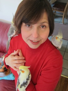 Ilona, a professional psychic medium with her rescue birds.